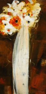 "SOLD ""Sensitive,"" by Susan Flaig 12 x 24 – acrylic with graphite $725 Unframed"