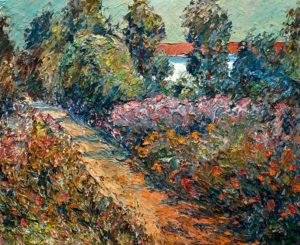"SOLD ""Sentier et jardin en fleurs,"" by Raynald Leclerc (Trail and Flower Garden) 20 x 24 – oil $2200 Unframed"