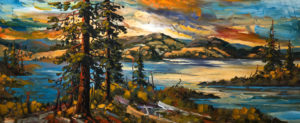 "SOLD ""September Motif, Nicola,"" by Rod Charlesworth 18 x 44 – oil $3250 Unframed"