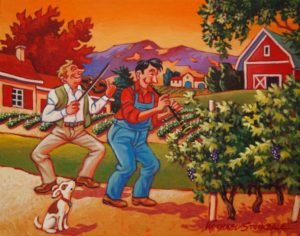 "SOLD ""Serenading the Grapes,"" by Michael Stockdale 8 x 10 – acrylic $330 (thick canvas wrap without frame)"