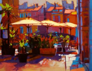 """SOLD """"Shade Givers, Provence,"""" by Mike Svob 14 x 18 – acrylic $1380 Framed"""