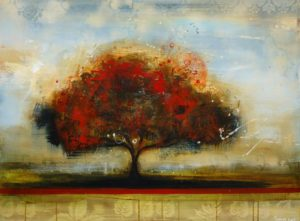 """SOLD """"Shade Tree,"""" by Heather Haynes 30 x 40 – acrylic $2200 (unframed panel with 1 1/2"""" wide edging)"""