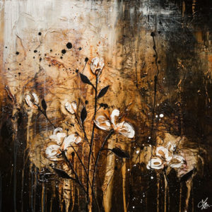 """SOLD """"The Shadow's Gift,"""" by Laura Harris 30 x 30 – acrylic $2835 (thick canvas  wrap without frame)"""