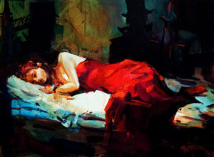 "SOLD ""The Shadows of Mary Kelly – Sleeping Lady in Red,"" by Michael O'Toole 12 x 16 – acrylic $1065 Framed"
