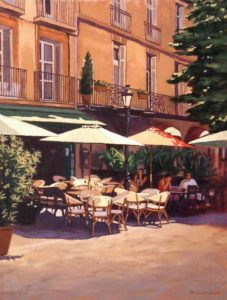 "SOLD ""Shady Cafe,"" by Ray Ward 14 x 18 – oil $1095 Framed"