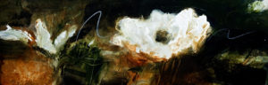 "SOLD ""Shape Shifters,"" by Susan Flaig 12 x 36 – acrylic/graphite $1125 Unframed"