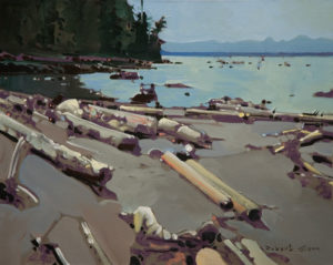 "SOLD ""Shark Spit, Marina Island, Near Cortes Island,"" by Robert Genn 16 x 20 – acrylic $4400 Unframed"