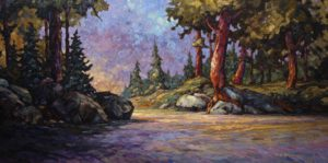 "SOLD ""Sheltered Nook,"" by Phil Buytendorp 24 x 48 – oil $3075 Framed"