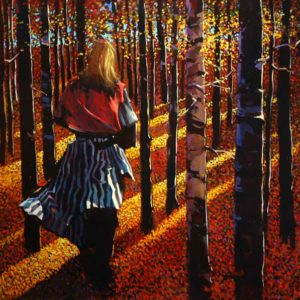 "SOLD ""She Walks Among the Black Poplars,"" by Michael O'Toole 40 x 40 – acrylic $4825 Framed"