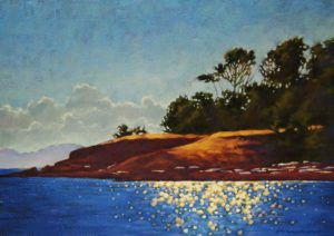 "SOLD ""Shimmering,"" by Ray Ward 10 x 14 – oil $875 Framed"