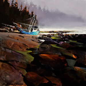 "SOLD ""Shipwreck in Haida Gwaii,"" by Michael O'Toole 16 x 16 - acrylic $1060 Unframed $1310 in show frame"
