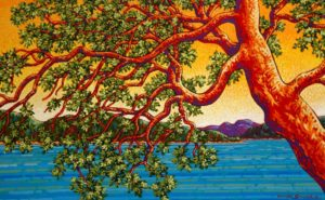 "SOLD ""Shoreline Arbutus,"" by Michael Stockdale 20 x 32 – acrylic $1280 (thick canvas wrap without frame)"
