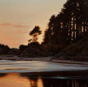 "SOLD ""Shoreline in Fading Light,"" by Ray Ward 14 x 14 – oil $1060 Unframed"