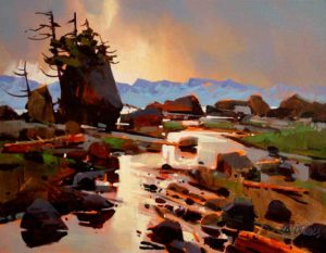 "SOLD ""Shoreline Search,"" by Michael O'Toole 14 x 18 – acrylic $940 Framed"