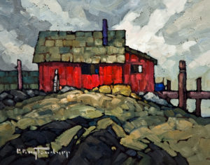 "SOLD ""Shoreline Shed,"" by Phil Buytendorp 8 x 10 – oil $470 Unframed"