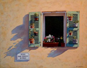 "SOLD ""Shutter Shadows,"" by Ray Ward 14 x 18 – oil $1095 Framed"