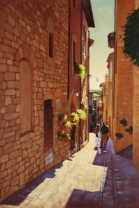 "SOLD ""Side Street, Tuscan Hill Town,"" by Ray Ward 16 x 24 – oil $1625 Framed"