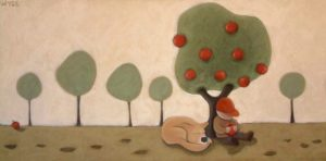 """SOLD """"Siesta,"""" by Peter Wyse 18 x 36 – acrylic $1100 (unframed panel  with 1 1/2"""" wide edging)"""
