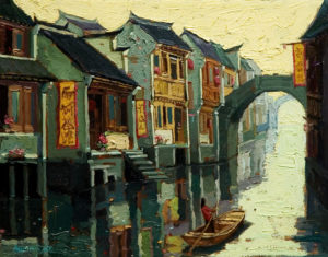 "SOLD ""Silent Morning, Suzhou,"" by Dongmin Lai 8 x 10 – oil $800 Framed"