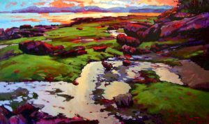 """SOLD """"Silent Shore,"""" by Mike Svob 36 x 60 – acrylic $8560 Framed"""