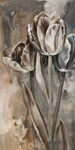"SOLD ""Silver Polish,"" by Linda Thompson 12 x 24 – acrylic $770 (thick canvas wrap without frame)"