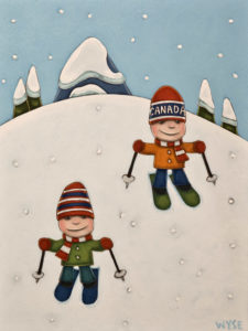 "SOLD ""Ski Boys,"" by Peter Wyse 12 x 16 – acrylic $830 (unframed panel  with 1 1/2"" edging)"