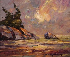 "SOLD ""Slippery Rock,"" by Phil Buytendorp 10 x 12 – oil $710 Framed"