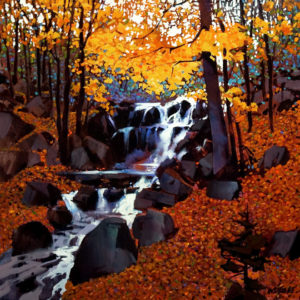 "SOLD ""Small Creek in Autumn,"" by Michael O'Toole 24 x 24 – acrylic $2000 Unframed"
