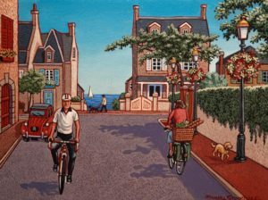 "SOLD ""A Small Seaside Town in Normandy,"" by Michael Stockdale 9 x 12 – acrylic $440 Unframed $550 Custom framed"