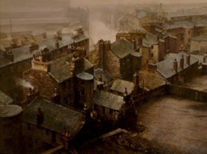 "SOLD ""Smog and Smoke, Glasgow,"" by Alan Wylie 20 x 26 – oil $5850 Framed"