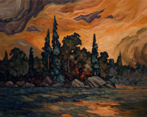 "SOLD ""Snag Lake Isle,"" by Phil Buytendorp 16 x 20 – oil $1320 Framed"