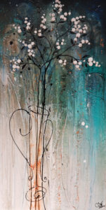 "SOLD ""Snowberries Blue,"" by Laura Harris 24 x 48 - acrylic $3825 in show frame $3450 Unframed (thick canvas wrap)"