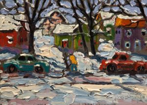 "SOLD ""Snow Day,"" by Rod Charlesworth 5 x 7 – oil $445 Unframed $610 Custom framed"