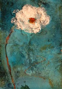 "SOLD ""Snow Flower #1,"" by Susan Flaig 5 x 7 – acrylic/mixed media $255 Unframed"