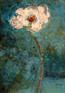 "SOLD ""Snow Flower #2,"" by Susan Flaig 5 x 7 – acrylic/mixed media $255 Unframed"