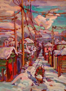 "SOLD ""Snow Multicoloured, Vancouver East,"" by Ed Loenen 12 x 16 – oil $825 Framed"