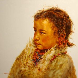 "SOLD ""Snuggled In,"" by Donna Zhang 30 x 30 – oil"