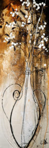 """SOLD """"Soapberries Remind Me,"""" by Laura Harris 12 x 36 – acrylic $1850 (thick canvas wrap without frame)"""