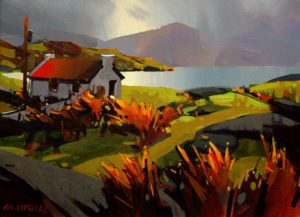 "SOLD ""Soft Day in County Kerry,"" by Michael O'Toole 12 x 16 – acrylic $865 Framed"