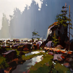"SOLD ""Soft Day North of Bella Bella,"" by Michael O'Toole 36 x 36 – acrylic $4400 Unframed"