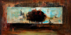 """SOLD """"Solitary Grove,"""" by Heather Haynes 24 x 48 – acrylic $2350 (thick canvas wrap without frame)"""