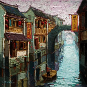 "SOLD ""Solitude, Suzhou,"" by Dongmin Lai 6 x 6 – oil $400 Framed"