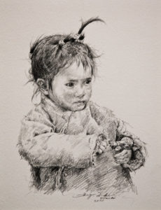 "SOLD ""Something Sweet,"" by Donna Zhang 9 1/2 x 12 1/2 – pencil drawing $1240 Framed"