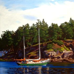 "SOLD ""Southbound,"" by Ray Ward 24 x 24 – oil $1995 Framed"