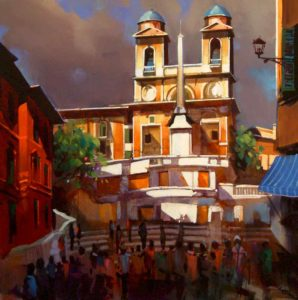 "SOLD ""Spanish Steps,"" by Michael O'Toole 30 x 30 – acrylic $2390 Framed"