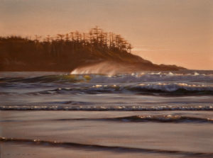 "SOLD ""Spindrift,"" by Ray Ward 9 x 12 – oil $750 Unframed $960 Custom framed"