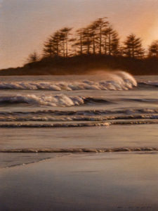 "SOLD ""Spindrift II,"" by Ray Ward 9 x 12 – oil $750 Unframed $960 Custom framed"
