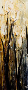 "SOLD ""Spring and a Sigh,"" by Laura Harris 12 x 36 – acrylic $1760 (thick canvas wrap without frame)"