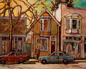 "SOLD ""Springlight Near Victoria & 18th Avenue,"" by Ed Loenen 16 x 20 – acrylic $1150 Framed"