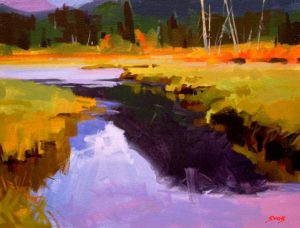 """SOLD """"Spring Marsh,"""" by Mike Svob 12 x 16 – acrylic $1115 Framed"""